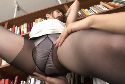 Miku ohashi. Miku Ohashi Asian is touched on sexy legs over stockings by stud