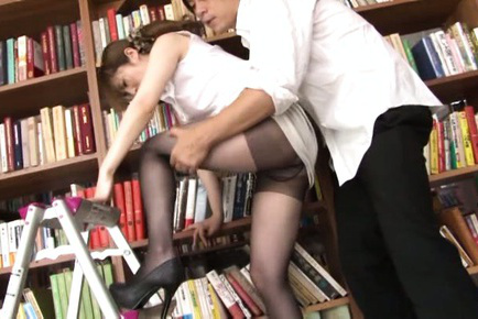 Miku ohashi. Miku Ohashi Asian has pussy rubbed over stockings at the library