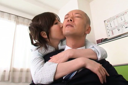 Yui tatsumi. Yui Tatsumi Asian bites boss ear and touches his heavy penis