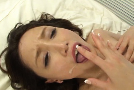 Sayuri honjyou. Sayuri Honjyou Asian gets cumshot on nasty breasts after is well nailed