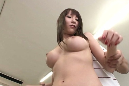 Rei aimi. Rei Aimi Asian with shaved coochie loves having tits