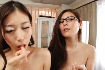 Japanese av model. Japanese AV Model gets cumshot in mouth next to other curvy teacher